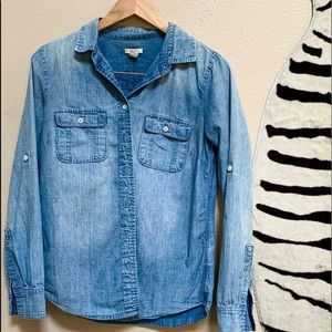 JCREW DISTRESSED DENIM SHIRT with long sleeves